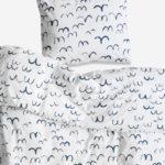 有機棉被套枕套兩件組 - BIRD BED SET, MIDNIGHT BLUE