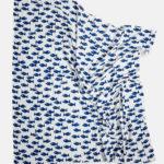 有機棉紗布包巾(小魚 - 深藍/白底) - Fish MUSLIN BLANKET