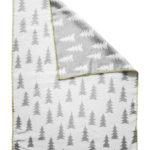 森林有機棉提花刷毛毯 (灰白 + 黃邊) - GRAN WOVEN CHILD BLANKET (grey / yellow edge)