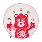 BU! BLANKIE 躲貓貓有機棉毯 - 泰迪熊紅(粉邊) Teddy Red / Pink