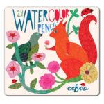 eeBoo 24色水性色鉛筆(鐵盒) -- 鳥與松鼠 (Squirrel and Bird WaterColor Pencils)